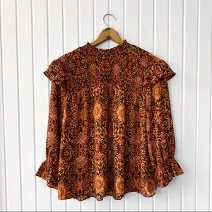 Cato Floral Pattern Peasant Boho Top